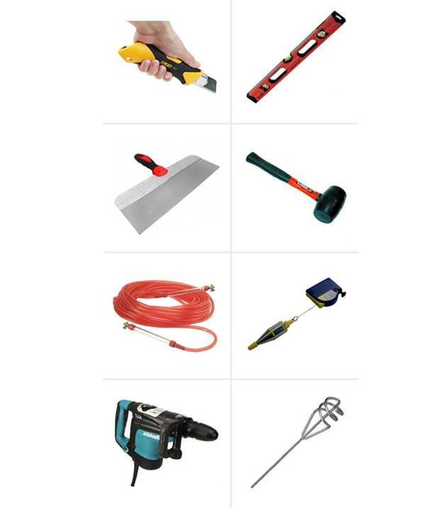 1 instrumenty i materialy 1 - Как правильно приклеить гипсокартон на стену