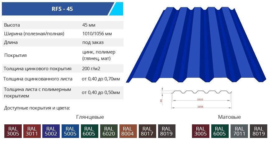 RFS 45 1 - Основные характеристики стенового профнастила