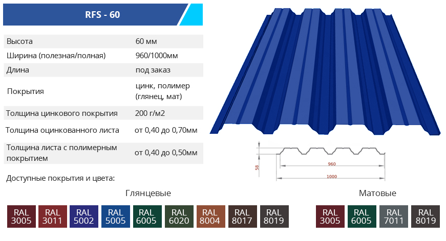 RFS 60 - Несущий профнастил