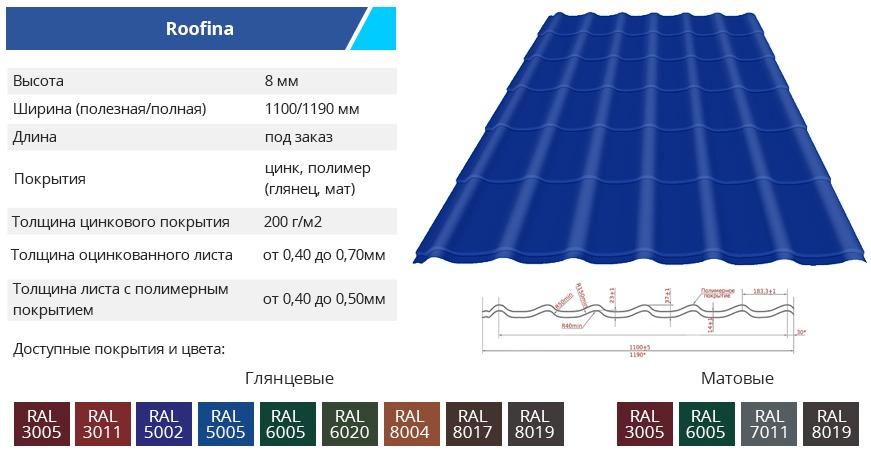 Roofina - Металлочерепица