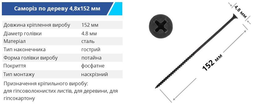 Samorez 48 152mm derevo ukr - Саморізи для ГКЛ Budmonster